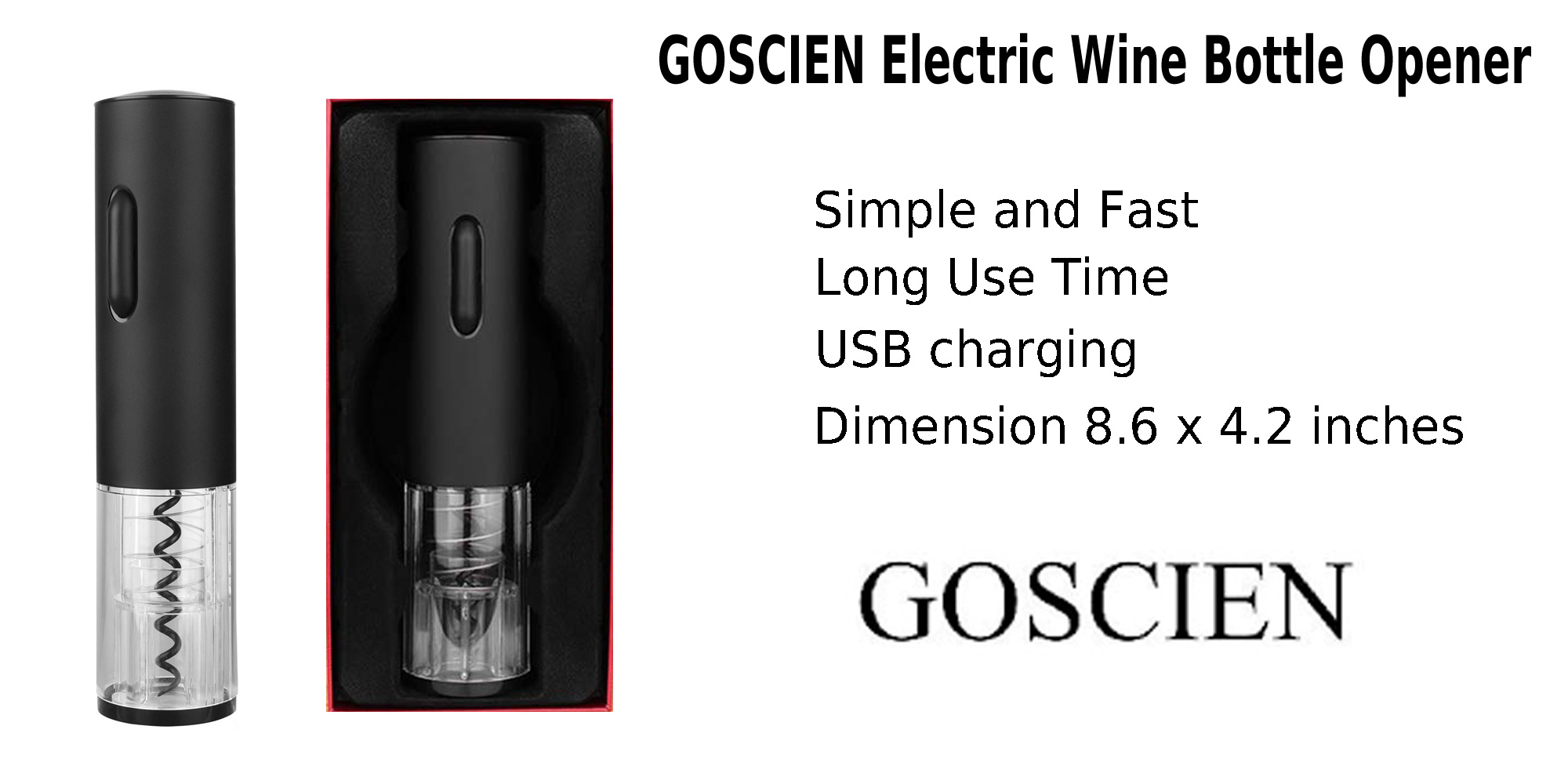 GOSCIEN Electric Wine Bottle Opener USB Recharged