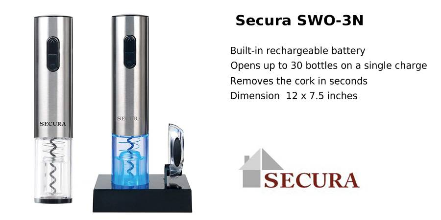 Secura SWO-3N Stainless Steel Electric Wine Opener