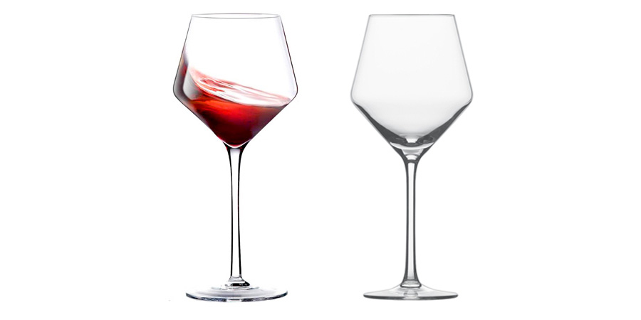Crystal Red Wine Glass Hand Blown Burgundy