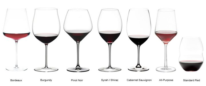 Red wine glasses by type